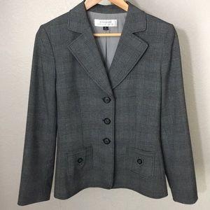 Tahari career blazer in grey plaid size 6